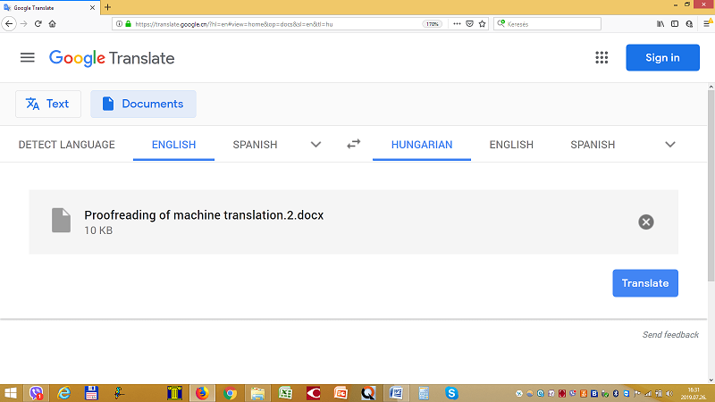Google Translate file uploaded for translation